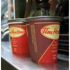 Two cups of Tim Hortons coffee ready to go