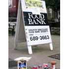 Food bank sign outside a church