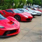 Expensive sports cars in a parking lot