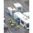 Resident and relative leaving after the fire