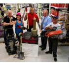 Bill McNabb, Brock Mission executive director, left, Coun. Lesley Parnell, Drew Merrett, owner of Merrett Home Hardware Building Centre, Coun. Dan McWilliams, and Kevin Armstrong, Peterborough resident, pose for a photo at Merrett Home Hardware