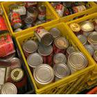 Crates of canned food