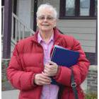 Part-time shelter co-ordinator Ava Dean outside the winter shelter at 2038 Nicola Avenue