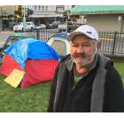Cliff Russ is among a small group of homeless residents who've moved into a camp outside Prince Rupert city hall