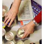 Busy hands in a food bank