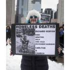 OCAP member protesting the lack of shelter accomodation in Toronto