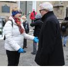 Street nurse Cathy Crowe talks to Adam Vaughan at the Homeless Memorial in January