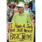 One of over a hundred protestors who showed up for a rally at Lindsay Memorial Park on Tuesday to decry the provincial government's decision to prematurely end the basic income project