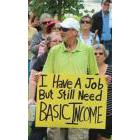 Protester decrying the provincial government's decision to prematurely end the Basic Income Project