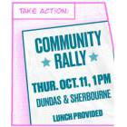 Poster for the Community Rally on October 11