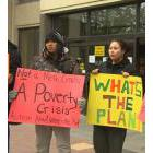 People marched from city hall to the Manitoba legislative building on to call for action on reducing poverty