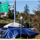 The tent city beside the Patricia Bay Highway near the Saanich municipal complex