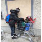 Homeless person with a shopping cart