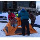 Demonstrators setting up tents outside Thunder Bay City Hall to symbolize their concern that changes to social assistance in the province will lead to more poverty and even more homelessness