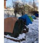 Part of a tent city in Fredericton