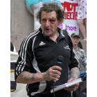Ross Brydon speaking at a rally