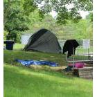 One of several homeless camps set up at St. Catharines' Centennial Gardens