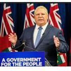 Premier Doug Ford on a podium