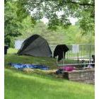 Part of one of the camps erected by homeless people in St. Catharines' Centennial Gardens in June