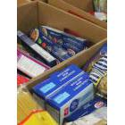 Food bank items in boxes